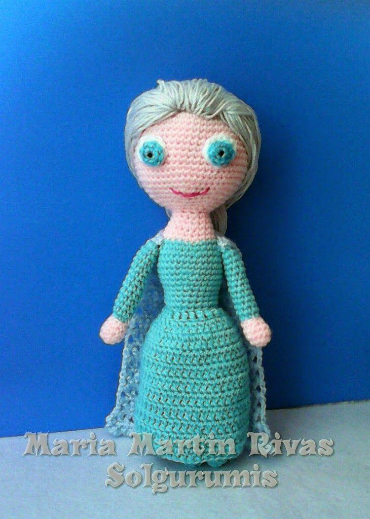 De nuevo te traigo un patrón ,esta vez he hecho a Elsa  Se me ocurrió por que tenia que hacer algo relacionado con el frío,para el reto tri...