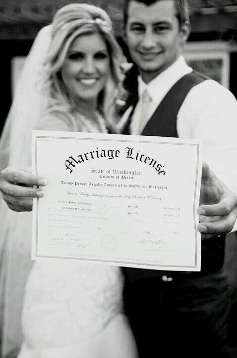 Bride And Groom Marriage License Photo Rustic Wedding