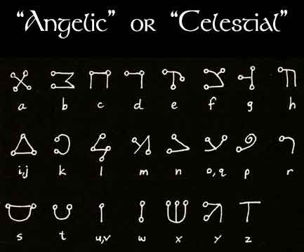 ... known as the Angelic Script, this alphabet is derived from Hebrew. Description from celticbookofshadows.wikidot.com. I searched for this on bing.com/images