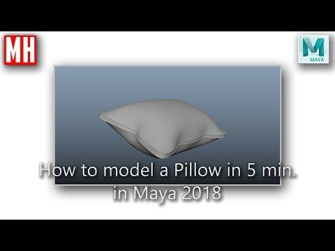 1) How to model a 3D Pillow in Maya 2018 in 5 minutes