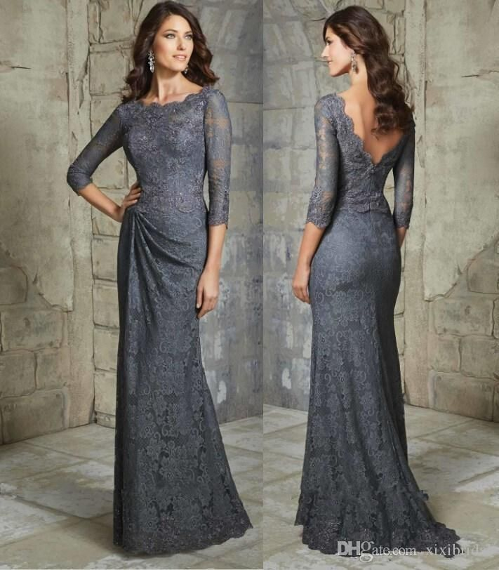 Elegant Full Lace Mother Of The Bride Dresses A Line Backless 3/4 Long Sleeves Floor Length Plus Size Formal Evening Gowns Mother Of The Bride Plus Size Mother Of The Brides Dresses From Xixibridal, $104.03| Dhgate.Com