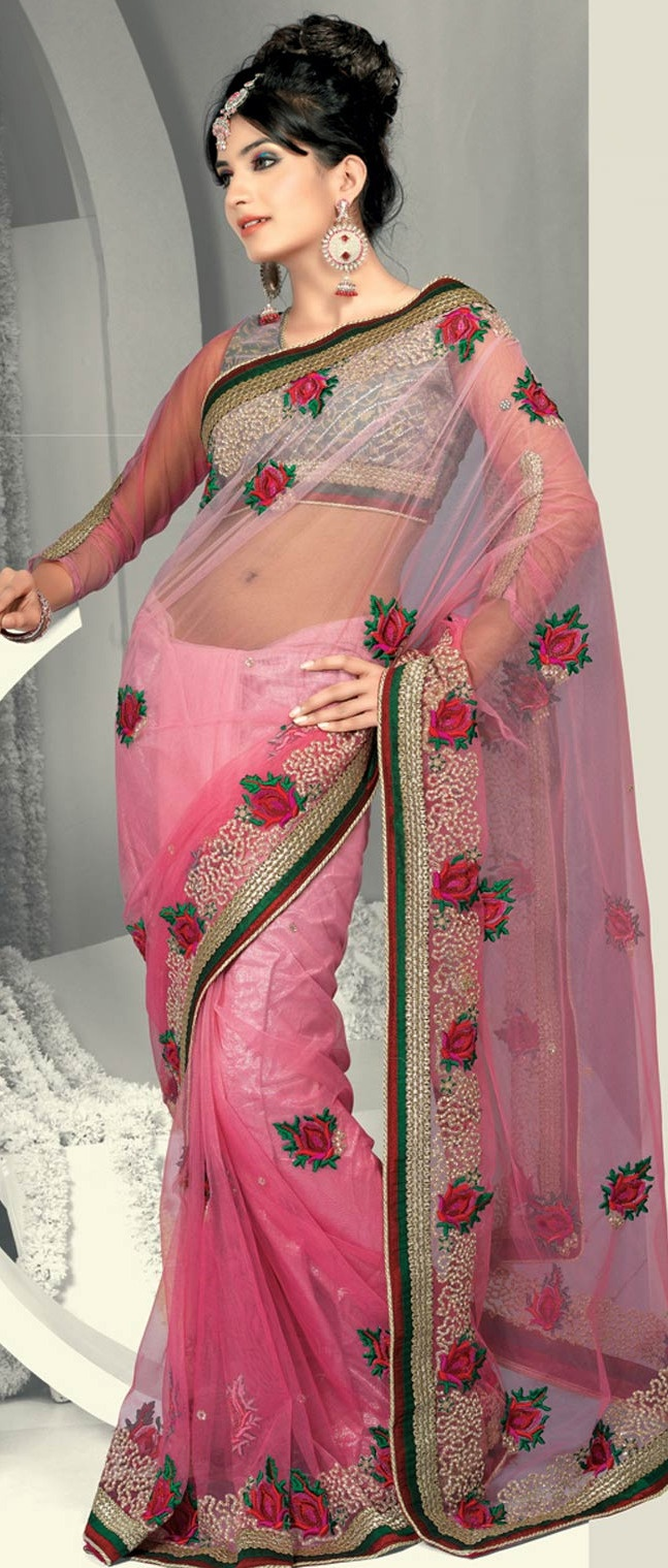 #Pink Net #Saree With #Blouse @ $116.58