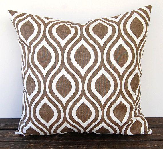 Brown pillow cover One 18 x 18 inches Nicole Italian Brown cushion cover modern pillows peacock print