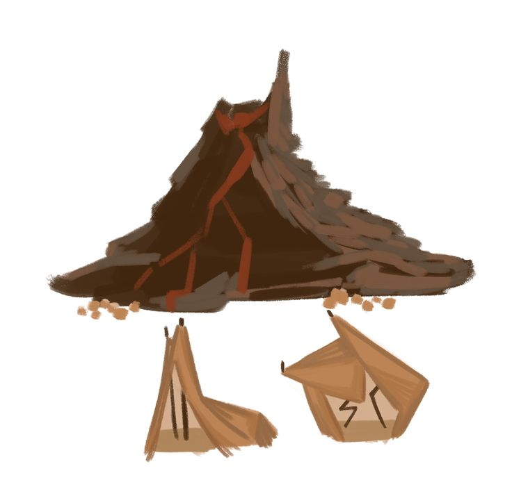 A volcano and some tipi-type tents. Moana's really starting to seep into my art.