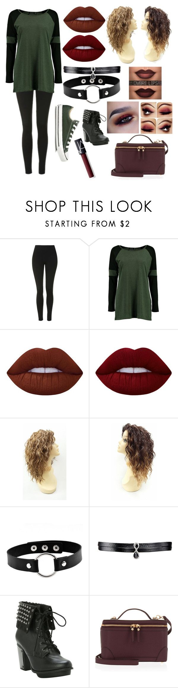 """""""burgundy & army green"""" by kassandra-cdxv on Polyvore featuring Topshop, Boohoo, Converse, Lime Crime, Fallon, Henri Bendel and NARS Cosmetics"""