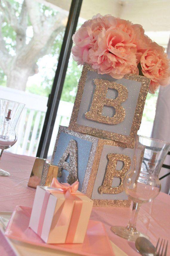 Baby Block centerpiece Rose Gold Baby Block winter wonderland Centerpiece 6inch