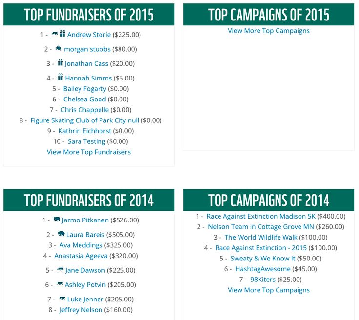 leader boards - http://wwf.worldwildlife.org/site/PageServer?pagename=panda_nation_athletic_event_fundraising