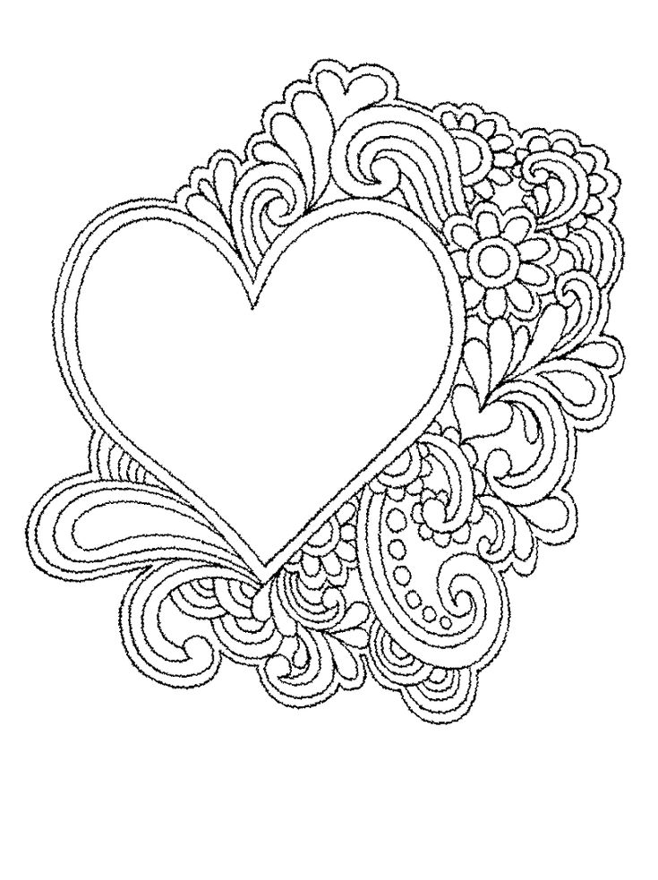 Coloring Pages Of Hearts And Flowers Heart Coloring Pages Love Coloring Pages Coloring Pages For Grown Ups