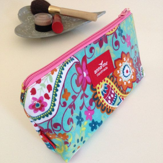 $13.72 - Bright Pouch for Makeup Paisley Print Makeup Bag for Her - Visit Anna Me Handmade on Etsy! #etsy #makeup