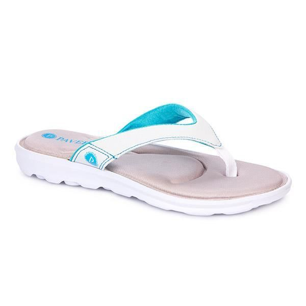 Brighten up your outfit instantly with bold, bright colours and cleated white soles. With contrast stitching and a memory foam insole, this toe-post has it all.