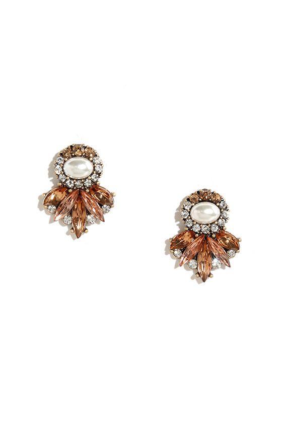 Perfectly Precious Peach Rhinestone Earrings at Lulus.com!