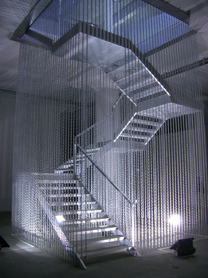 Stairway to Hell, Monica Bonvicini, 2003  Steel, steel panels, chains, broken safety glass