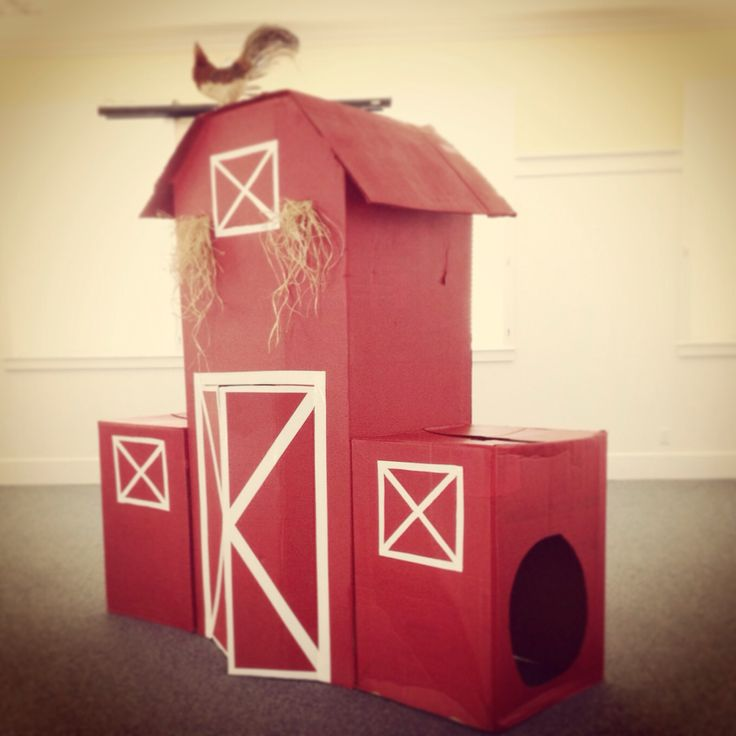 red cardboard barn complete with rooster ;)