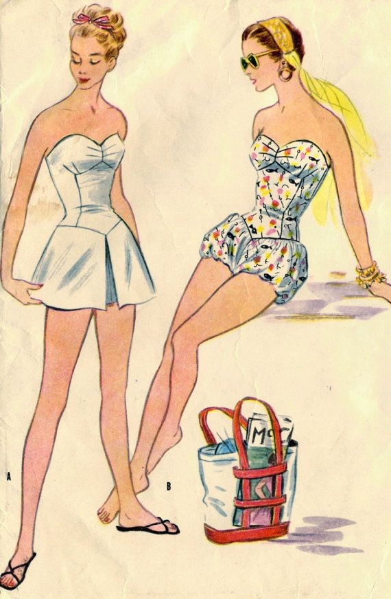 Vintage 50s McCalls 3165 Misses Camisole Swimsuit by RomasMaison