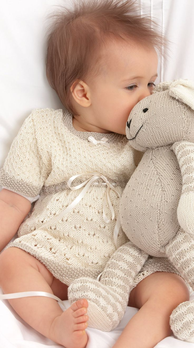 This is a super cute baby lace dress knitting pattern, from Patons. It uses Patons 100% Cotton 4 Ply yarn, but another 4 ply could be substituted. To complete the package, there's also a free pattern for the cute as a button rabbit toy too! Download them both below.