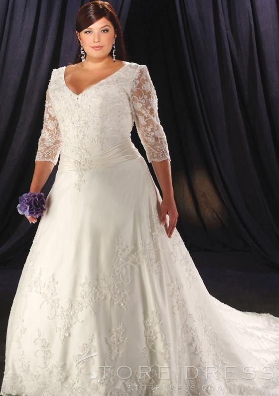 A-Line/princess V-Neck Cathedral Bridal Gown at Storedress.com