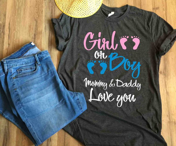 Gender reveal ideas for mom and dad shirt girl or boy