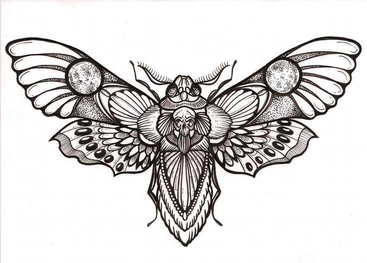 """Awesome """"deaths head"""" hawk moth tattoo design"""