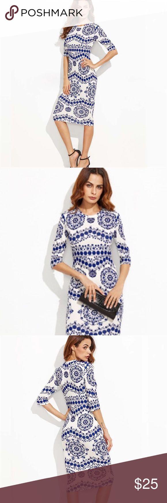 Bohemian Dresses blue and white sleeves dress Pre-Order This Bohemian Dresses blue and white sleeves dress  Dresses LengthKnee-Length StyleBohemian WaistlineEmpire MaterialPolyester,Velvet Sleeve StyleRegular SilhouetteSheath Sleeve Length(cm)Half NecklineO-Neck Pattern TypePrint Available in Med., Lrg., XL. Dresses Midi