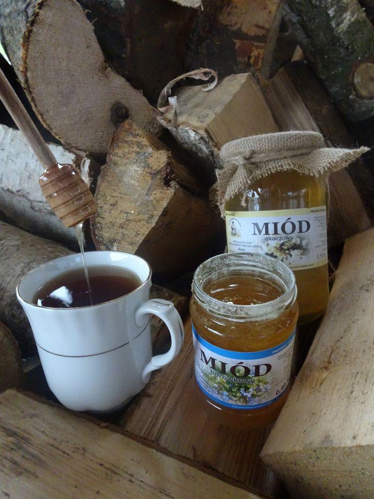 miód akacjowy, miód borówkowy, herbata z miodem, drewno do kominka instagram @mybeepl