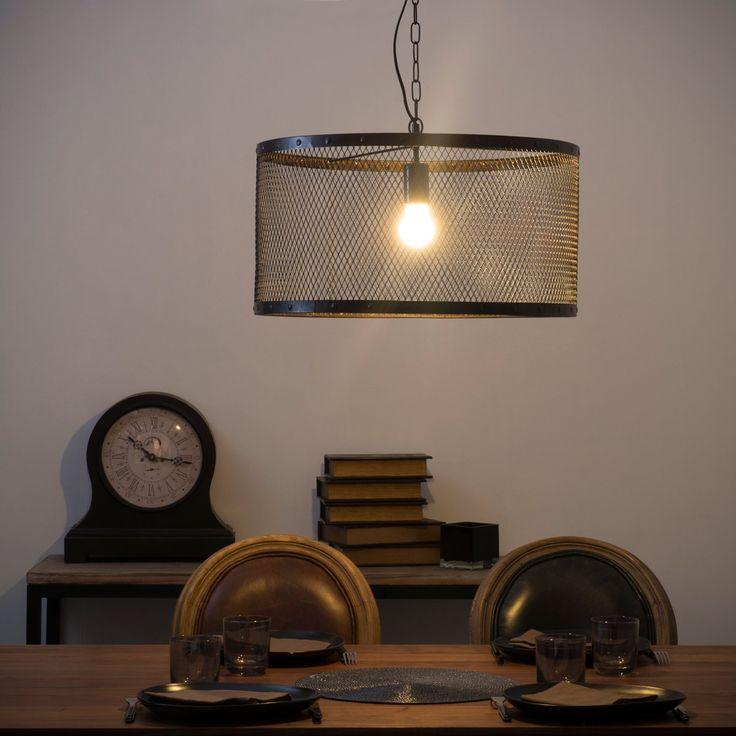 Suspension indus en métal grillagé noire D 55 cm LOUIS | Maisons du Monde