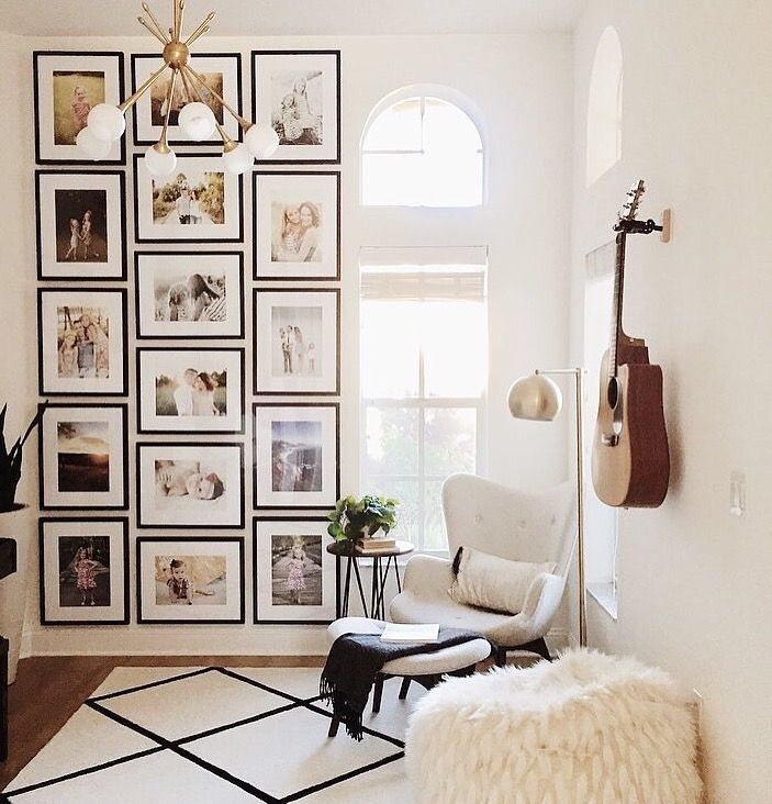 Photo wall – this is such a different gallery wall idea. Normally I love the eclectic, mix-and-match gallery but this one is also amazing! Filling it …