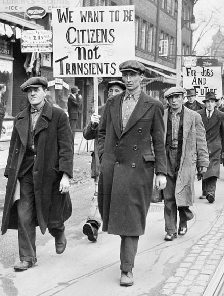 PM Bennett had decided that thousands of young, single men had few options during the economic crisis of the 1930s. Many of them crisscrossed the country by train looking for work. By 1932, there were an estimated 70,000 unemployed transients.   The Single Men's Unemployed Association march in Toronto, Ontario, circa 1930. (Courtesy of Library and Archives Canada-C-029397
