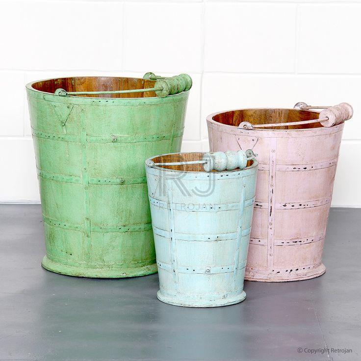 June Vintage Wooden Buckets (Set of 3) | $69.00