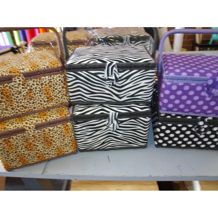 What fabulous prints on these sewing baskets, available from Frankenstein's Fabrics for $12