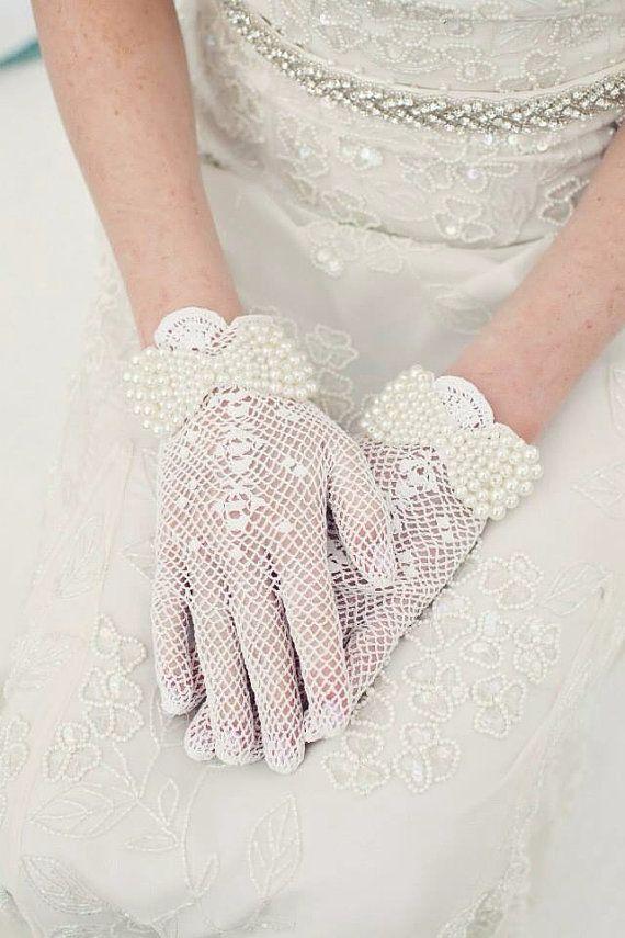Crochet gloves, Lace gloves, Bridal gloves, Wedding gloves, Fishnet gloves, Embellished gloves on Etsy, $68.00