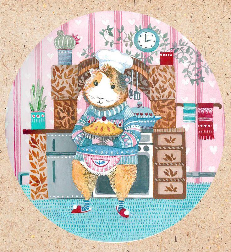 Посмотреть иллюстрацию Богданова Дарья - Морская свинка на кухне.