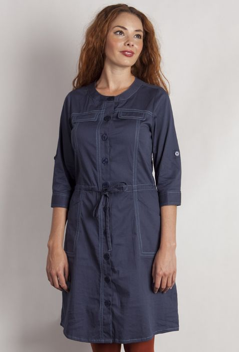 Cotton/elastane button through dress with a rink collar, drawstring waist and 3/4 sleeve with button and tab detail.WAS $95 SALE PRICE $30