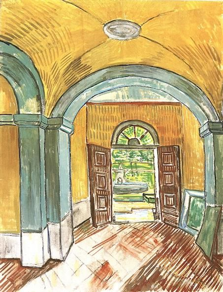 Vincent van Gogh: The Watercolours - The Entrance Hall of St Paul. 1889. Van Gogh Museum, Amsterdam.