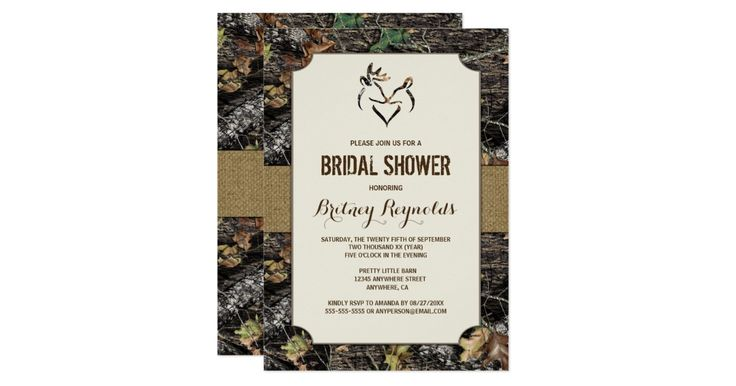 Love Deer Hunting Camo Bridal Shower Invitations - features a printed rustic burlap band that wraps around the front and back with a hunting camouflage background. A buck and a doe are at the top, forming a heart.