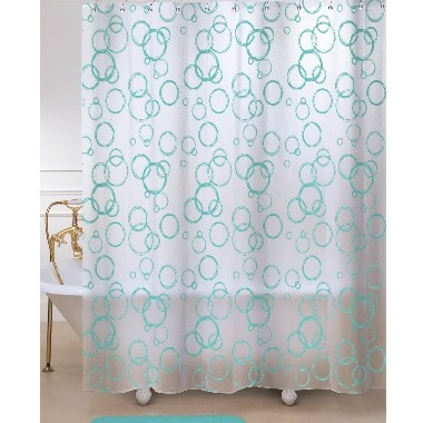 Delightful Bubbles Shower Curtain Aqua | PEVA/PVC Shower Curtain