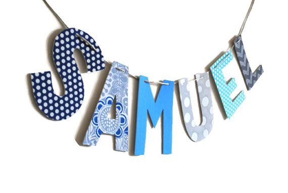 Nursery Fabric Name Banner, Boy Room Decor, Name Garland, Kid's Room Name Banner, Garland Letters Wall Hanging, Name Sign Children, Playroom on Etsy, $10.00
