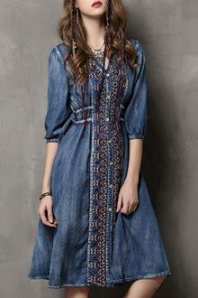 Pretty! But not available in my size. |||||  Embroidered Single-Breasted Midi Denim Dress