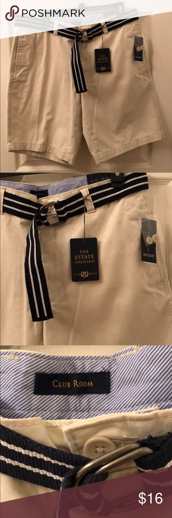 Club Room light beige shorts Men's 36 New with tag Club Room The Estate Collection Mens Short . Beige . Size 36 . New with tags . Black w white stipe loop belt included . Perfect to add to your spring wardrobe Club Room Shorts Flat Front