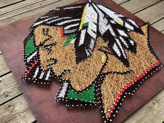 Fighting Sioux Logo String & Nail Art por stringandnail0 en Etsy