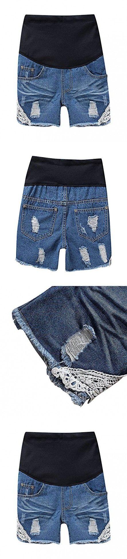 MIAMAMA Women's Maternity Elastic Waist Denim Shorts Summer White Lace Jeans, X-Large