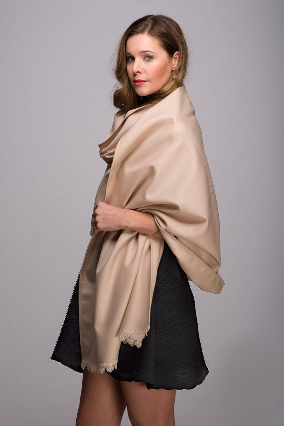 Thin Sand Wool Scarf with Fine Lace Detail by WICKandPoppy on Etsy, $139.84