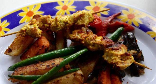Chicken Tikka kebabs camping 2015