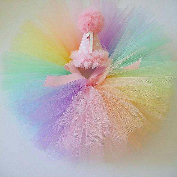 Rainbow tutu, rainbow baby tutu, cakesmash set, fluffy tutu, party hat set. Rainbow tutu,  Photoshoot prop, baby tutu, birthday outfit.
