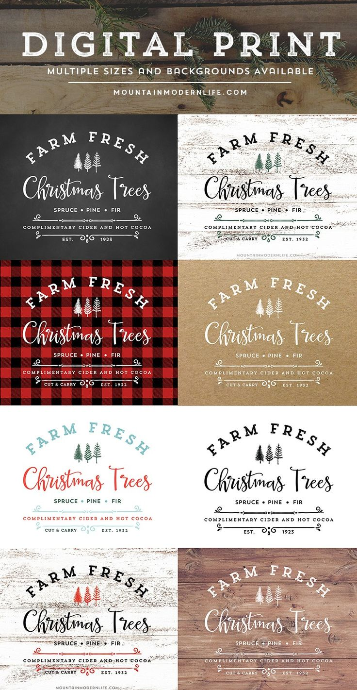 "Download and Print this vintage-inspired ""Farm Fresh Christmas Trees"" design, perfect for sprucing up your home this holiday season. Multiple Color Options and Backgrounds Available! MountainModernLife.com  via @MtnModernLife"
