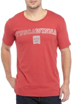 Saturday Down South Men's Tuscawinna Short Sleeve Comfort Tee - Crimson - 2Xl