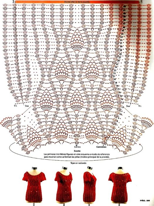 crochelinhasagulhas: Blusa vermelha de abacaxis
