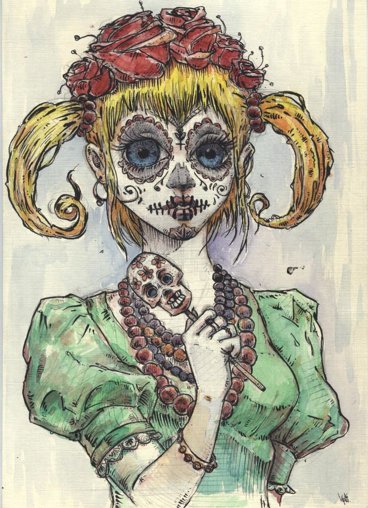 Here's a girl with a skullface by BorisResin on Etsy