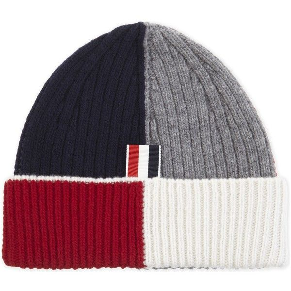 Thom Browne Intarsia ribbed wool beanie ($225) ❤ liked on Polyvore featuring men's fashion, men's accessories, men's hats, mens 5 panel hats, mens beanie hats and mens wool hats