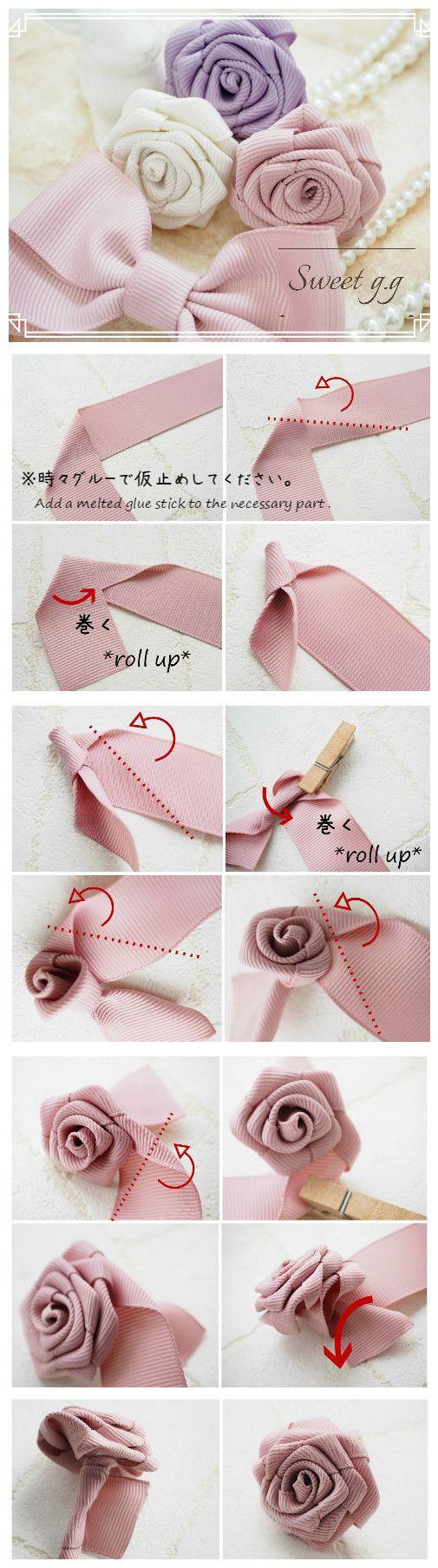 簡単かわいい巻きバラの作り方 ~グログランリボンで巻きバラ~ ※折りながら巻くだけです♥ ほどけないように、時々グルーで固定しながら作ってください。