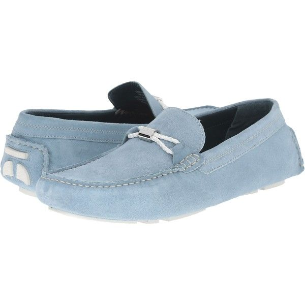 Ted Baker Carlsun 2 (Light Blue Suede) Men's Slip on  Shoes (£64) ❤ liked on Polyvore featuring men's fashion, men's shoes, blue, mens slipon shoes, mens loafer shoes, light blue mens dress shoes, mens suede loafers and mens slip on shoes